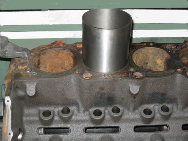 cylinder block being sleeved